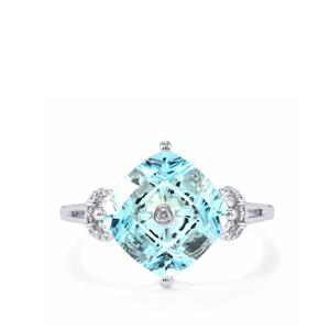 Lehrer TorusRing Sky Blue Topaz Ring with Diamond in 10K White Gold 3.86cts