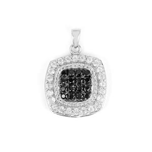 Black Spinel & White Topaz Sterling Silver Pendant ATGW 3.10cts