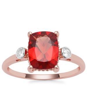 Red Labradorite Ring with White Zircon in 9K Rose Gold 1.76cts