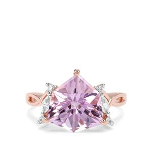 Alpine Cut Rose De France Amethyst & White Zircon 9K Rose Gold Ring ATGW 4.68cts