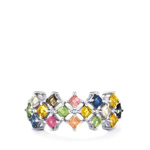 Songea Rainbow Sapphire Ring in Sterling Silver 2.04cts