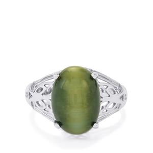 Green Cat's Eye Ring in Sterling Silver 7.53cts
