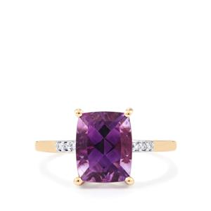 Moroccan Amethyst Ring with Diamond in 14k Gold 2.78cts