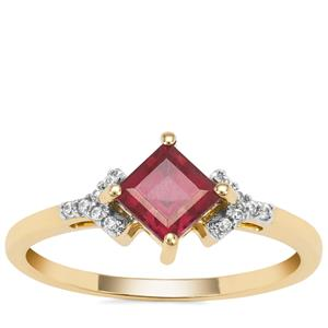 Malawi Garnet Ring with White Zircon in 9K Gold 1.09cts