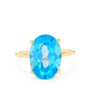 7.66ct Swiss Blue Topaz 10K Gold Ring