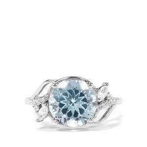 Sky Blue Topaz & White Zircon Sterling Silver Ring ATGW 5.98cts