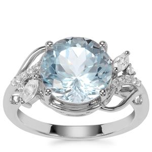 Sky Blue Topaz Ring with White Zircon in Sterling Silver 5.98cts