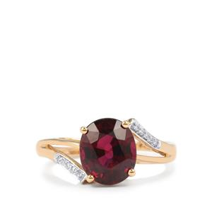 Malawi Garnet Ring with Diamond in 18K Gold 3.74cts