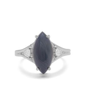 Bharat Sapphire Ring with White Zircon in Sterling Silver 8.95cts