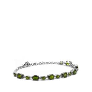 Chrome Diopside Bracelet with White Topaz in Sterling Silver 8.08cts