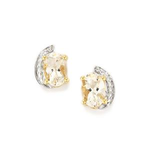 Goshenite Earrings with Diamond in 10k Gold 1.43cts