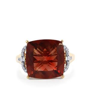 Oregon Sunstone Ring with Diamond in 18k Gold 6.91cts