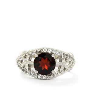 Rajasthan Garnet & White Topaz Sterling Silver Ring ATGW 2.35cts
