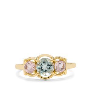 Cherry Blossom™ Morganite & Aquaiba™ Beryl 9K Gold Ring ATGW 1.20cts