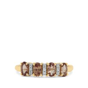 Bekily Colour Change Garnet Ring with White Zircon in 9K Gold 1.15cts