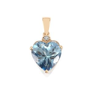 Santa Maria Topaz Pendant with Diamond in 10K Gold 7.18cts