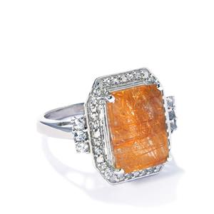 Golden Rutile Quartz & White Topaz Sterling Silver Ring ATGW 8.01cts