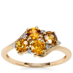 Morafeno Sphene Ring with Diamond in 10K Gold 1.28cts