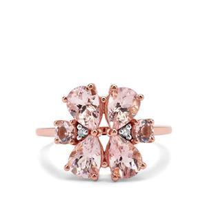 Cherry Blossom™ Morganite & Diamond 9K Rose Gold Tomas Rae Ring ATGW 2.64cts
