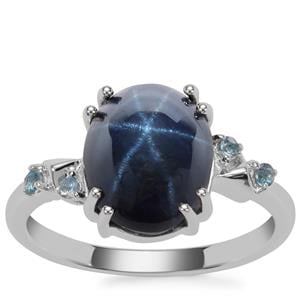 Madagascan Blue Star Sapphire Ring with Marambaia London Blue Topaz in Sterling Silver 6.12cts