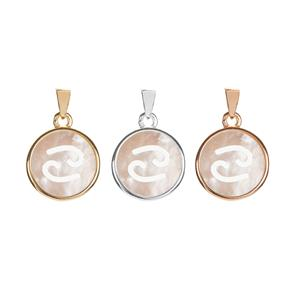 Mother of Pearl Sterling Silver Zodiac Pendant - Cancer (Choice of 3 Metal Colours)