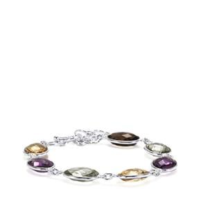 35ct Kaleidoscope Gemstones Sterling Silver Bracelet