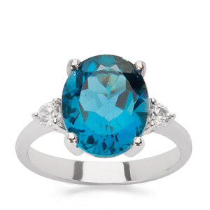 Ceylonese London Blue Topaz Ring with White Zircon in Sterling Silver 6.02cts