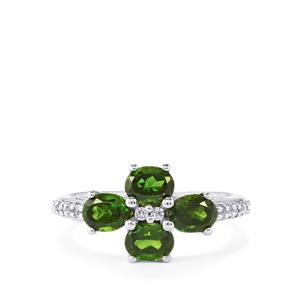 Chrome Diopside & White Topaz Sterling Silver Ring ATGW 1.97cts