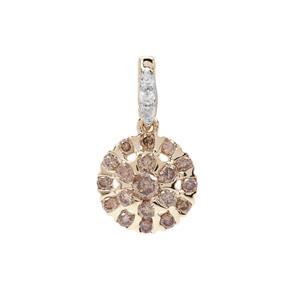 Cape Champagne Diamond Pendant with White Diamond in 9K Gold 0.53ct