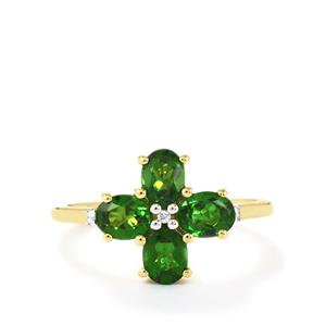 Chrome Diopside & Diamond 9K Gold Ring ATGW 1.51cts