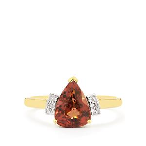 Colour Change Garnet Ring with Diamond in 14K Gold 2.56cts