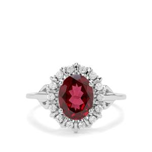 Mahenge Garnet & White Zircon Sterling Silver Nora Saul Ring ATGW 2.75cts