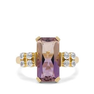 Anahi Ametrine Ring with White Zircon in 9K Gold 3.45cts
