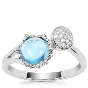 Swiss Blue Topaz Ring with White Zircon in Sterling Silver 1.55cts