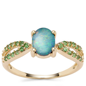 Crystal Opal on Ironstone Ring with Tsavorite Garnet in 9K Gold