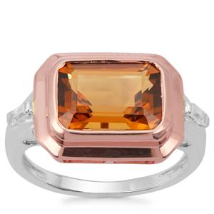 Cognac Quartz Ring with White Zircon in Two Tone Rose gold Plated Sterling Silver Sterling Silver 3.77cts