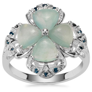 Gem-Jelly Aquaprase™ Ring with Blue Diamond in Sterling Silver 2.70cts
