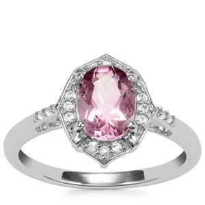 Natural Pink Fluorite Ring with White Topaz in Sterling Silver 1.60cts