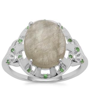 Menderes Diaspore Ring with Tsavorite Garnet in Sterling Silver 5.06cts