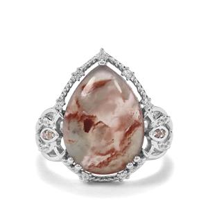 Aquaprase™, White Zircon & Champagne Diamond Sterling Silver Ring ATGW 6.87cts
