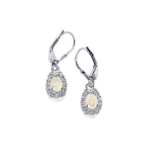 Ethiopian Opal & White Topaz Sterling Silver Earrings ATGW 0.80cts