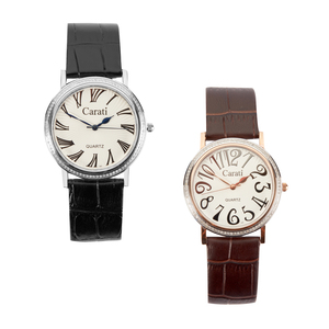 Diamond Stainless Steel Watch with Leather Strap 0.45ct