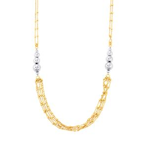 "18"" Altro Station Necklace in Two Tone Gold Plated Sterling Silver 7.48g"