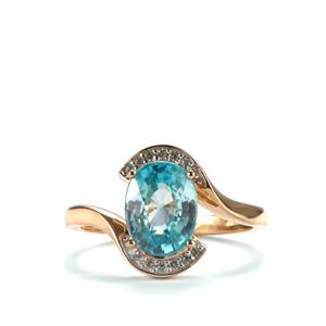 Ratanakiri Blue Zircon Ring with White Zircon in 10K Gold 3.03cts
