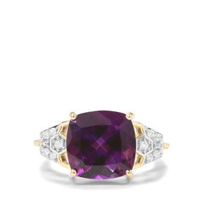 Moroccan Amethyst & White Zircon 9K Gold Ring ATGW 4.83cts