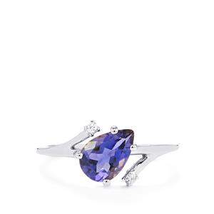 Bengal Iolite Ring with White Zircon in 10k White Gold 1.07cts