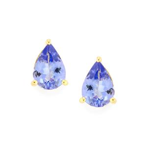 AA Tanzanite Earrings in 10k Gold 1.26cts
