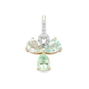 Paraiba Tourmaline Pendant with Diamond in 10k Gold 1.67cts