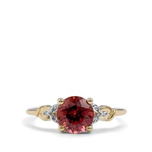 Zanzibar Zircon Ring with Diamond in 10K Gold 1.93cts