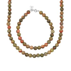 Unakite Set of Necklace and Bracelet in Sterling Silver 135cts